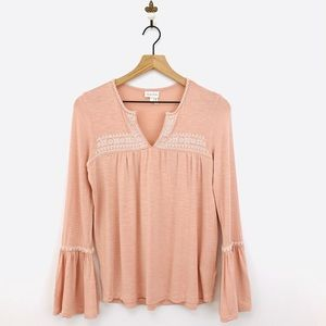 Anthropologie Casablanca Embroidered Top XS Pink